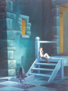 escalier dbleu dans ce qui semble une prison avec une personne assise à son sommet