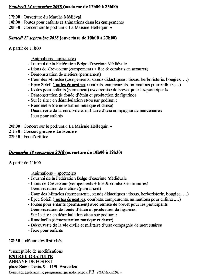 Programme fête médiévale
